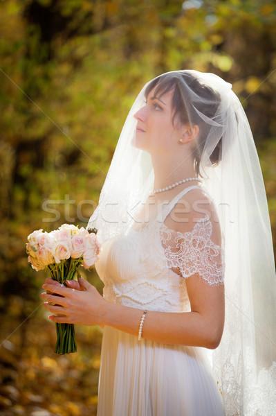 Schönen Braut Park Blumen Hochzeit Stock foto © luckyraccoon