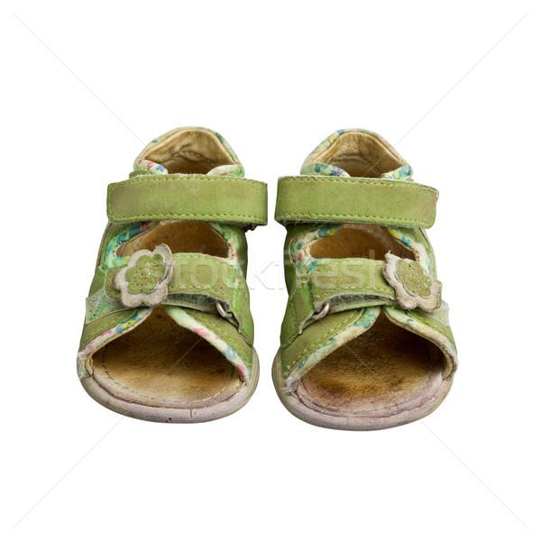 Gebruikt groene kind sandalen geïsoleerd witte Stockfoto © luckyraccoon