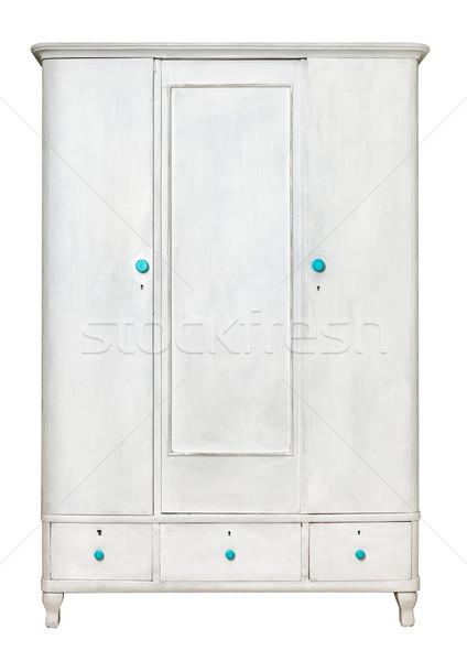 White rustic wardrobe isolated on white background  stock
