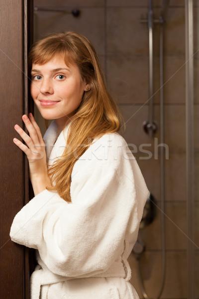 Fiatal nő visel köntös fehér hotel bőr Stock fotó © luckyraccoon