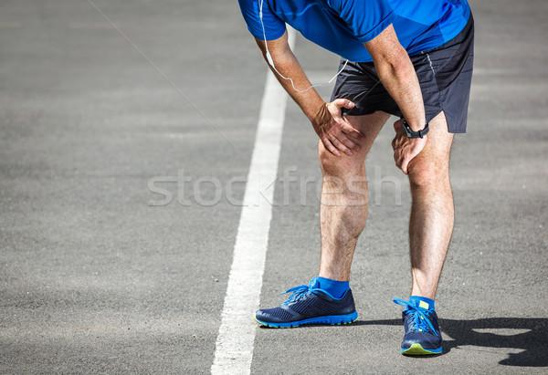 Yorgun erkek koşucu eğitim uygunluk Stok fotoğraf © luckyraccoon