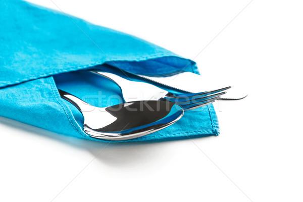ストックフォト: ナイフ · フォーク · スプーン · 孤立した · 白 · 金属