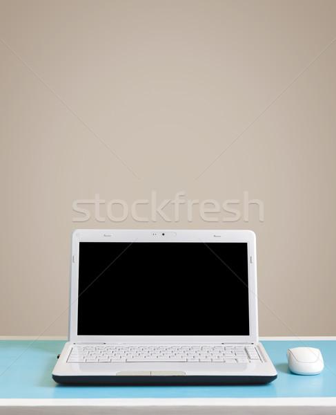 Stok fotoğraf: Beyaz · dizüstü · bilgisayar · tablo · yer · metin · bilgisayar