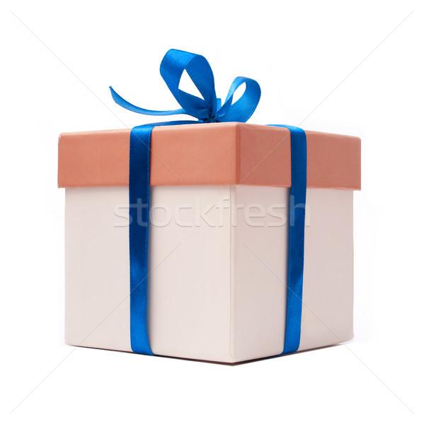 Stok fotoğraf: Hediye · kutusu · mavi · şerit · yay · yalıtılmış · beyaz