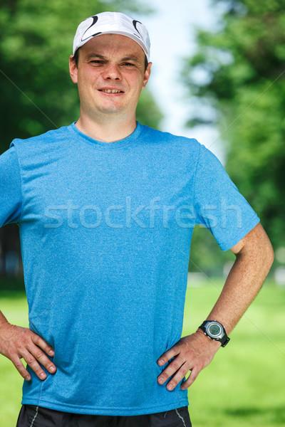 фитнес инструктор Открытый портрет трава гольф Сток-фото © luckyraccoon