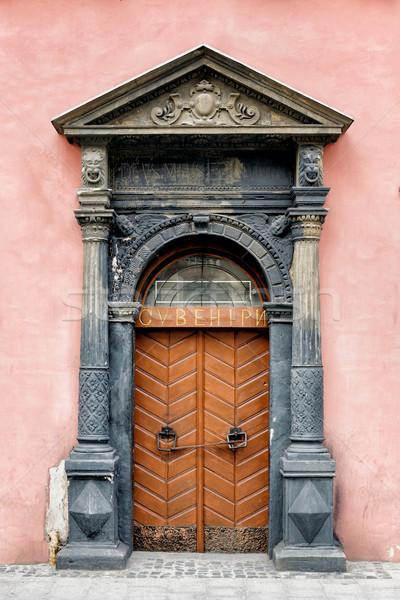 Old brown wooden door. Stock photo © luckyraccoon