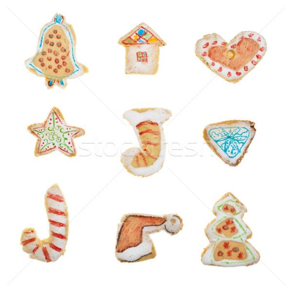 домашний пряничный Cookies изолированный белый продовольствие Сток-фото © luckyraccoon