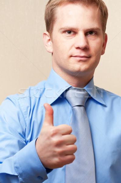 Jungen Geschäftsmann Zeichen Business Stock foto © luckyraccoon