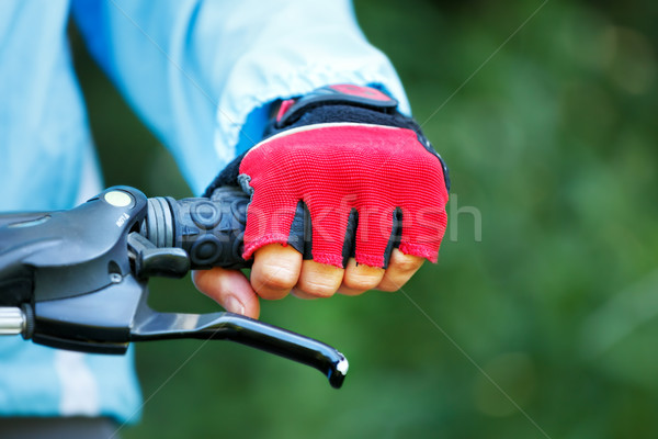 Closeup of hands in red protective gloves holding handlebar. Stock photo © luckyraccoon