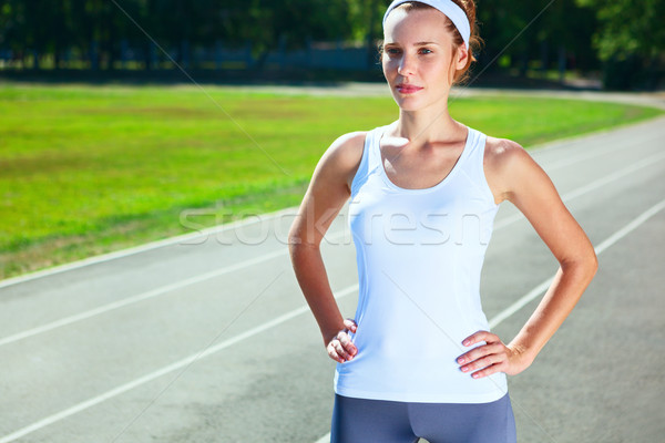 若い女性 スタジアム マラソン 実行 少女 スポーツ ストックフォト © luckyraccoon