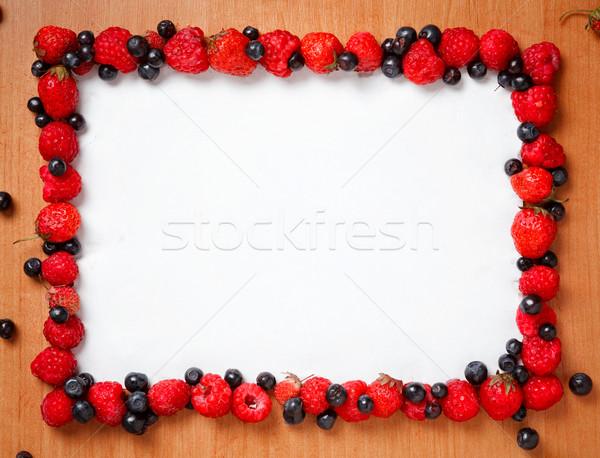Farbenreich Grenze Rahmen süß Wald Beeren Stock foto © luckyraccoon