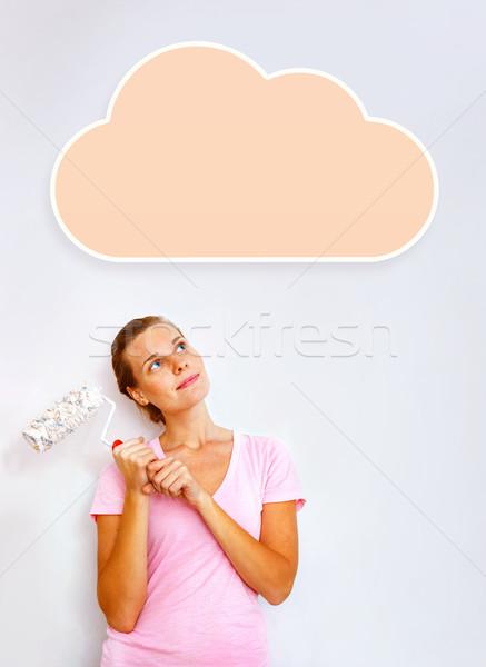 Boldog nő ecset álmodik munka terv Stock fotó © luckyraccoon