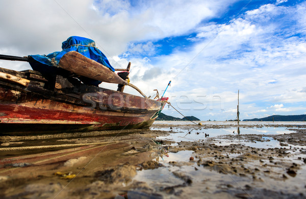 Thai longtail boats at low tide of the sea Stock photo © luckyraccoon