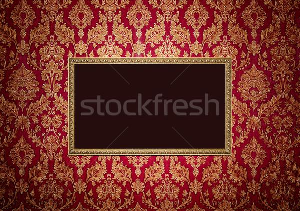 Piros retro belső üres arany keret Stock fotó © luckyraccoon