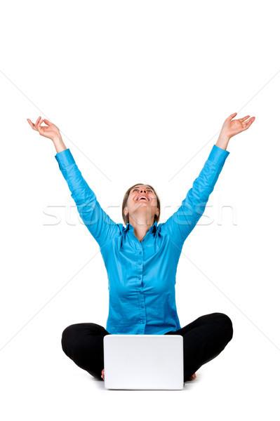Mutlu kadın dizüstü bilgisayar yalıtılmış beyaz iş Stok fotoğraf © luckyraccoon