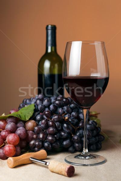 şişe cam restoran kırmızı Stok fotoğraf © luckyraccoon