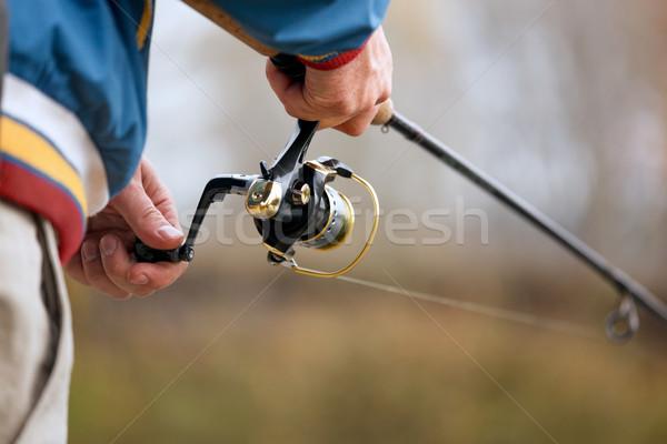 Manos primer plano mano otono pesca temporada Foto stock © luckyraccoon