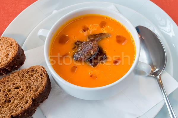 pumpkin soup with foie gras Stock photo © luckyraccoon