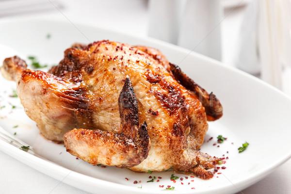 Tavuk kızartma tavuk restoran şef beyaz Stok fotoğraf © luckyraccoon