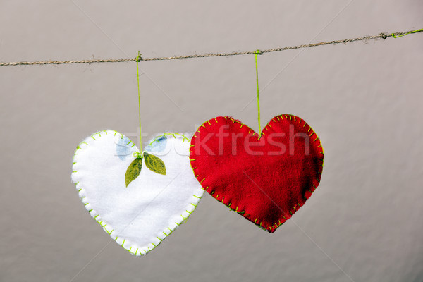 Cotone tessuto cuori grigio texture cuore Foto d'archivio © luckyraccoon