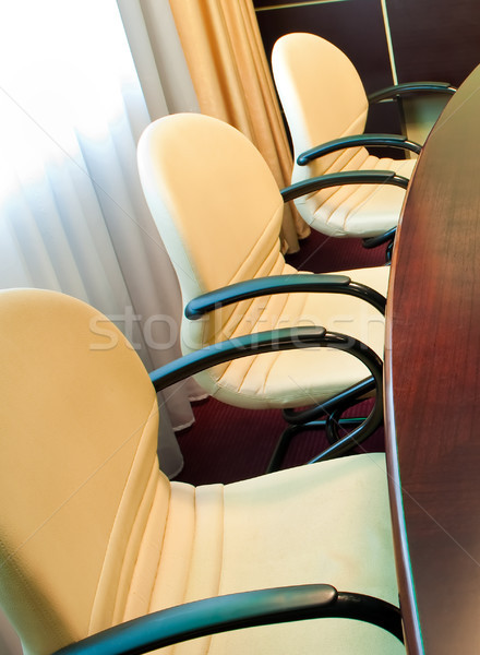 Tárgyalóterem üzlet iroda megbeszélés ablak asztal Stock fotó © luckyraccoon