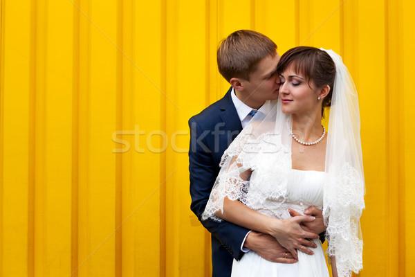 Feliz novia novio amarillo pared amor Foto stock © luckyraccoon