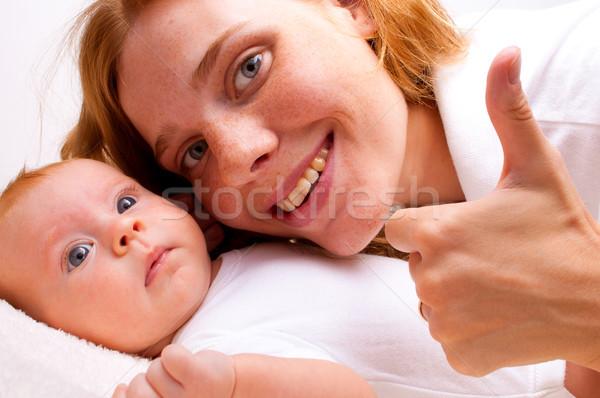 Cute baby madre ragazza faccia Foto d'archivio © luckyraccoon