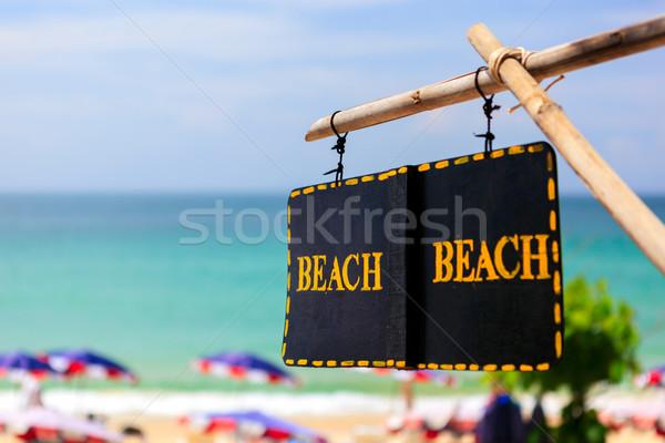 'Beach' sign - access to summer Beach Stock photo © luckyraccoon