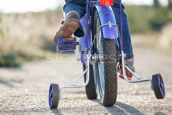 çocuklar bisiklet eğitim tekerlekler bebek Stok fotoğraf © luckyraccoon