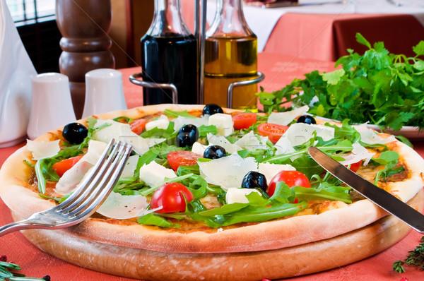 Közelkép pizza prosciutto étel fa egészség Stock fotó © luckyraccoon