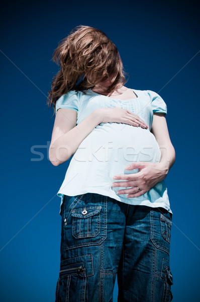 pregnant woman in depression Stock photo © luckyraccoon