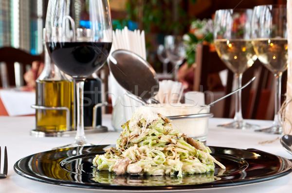 зеленый желтый грибы вино ресторан красный Сток-фото © luckyraccoon