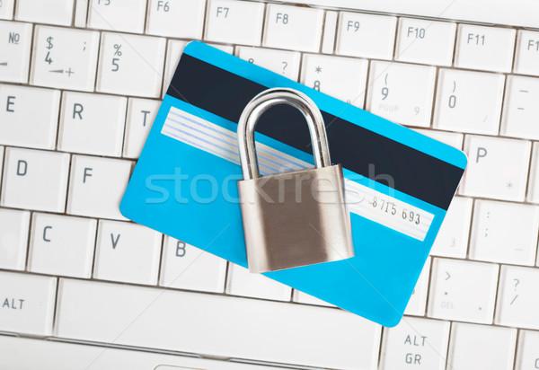 Stock fotó: Hitelkártya · lakat · billentyűzet · biztonság · ekereskedelem · számítógép