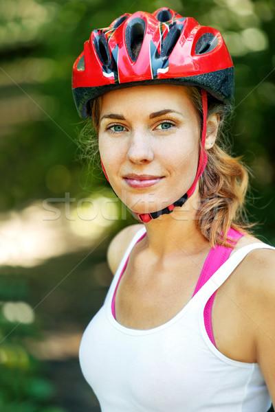 Retrato feliz jovem ciclista esportes roupa Foto stock © luckyraccoon