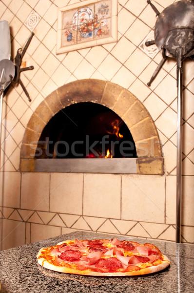 Lezzetli pizza ahşap geleneksel fırın restoran Stok fotoğraf © luckyraccoon