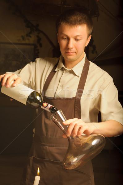 Aşçılar yüz şarap adam Stok fotoğraf © luckyraccoon