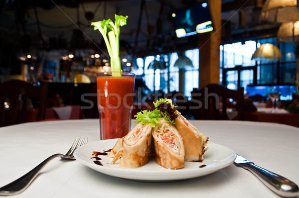 Rolled pancake with salmon and  Ricotta cheese  Stock photo © luckyraccoon