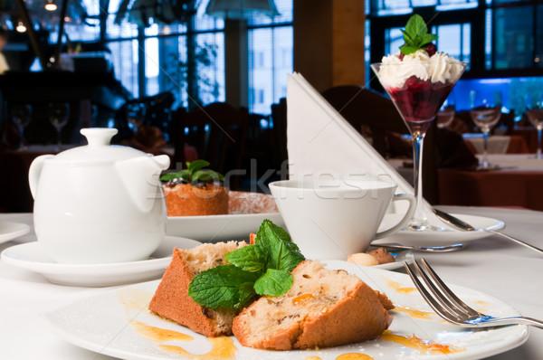 Apricot cake on table Stock photo © luckyraccoon