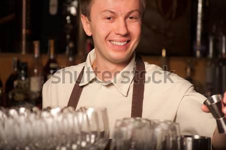 Kız bar barmen mutlu restoran gece Stok fotoğraf © luckyraccoon