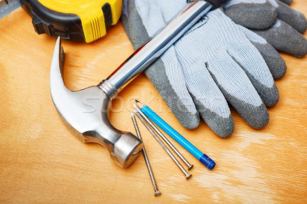 Ayarlamak araçları ahşap masa ahşap inşaat Stok fotoğraf © luckyraccoon