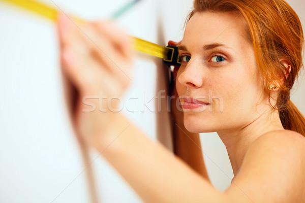 Porträt Maßband Hände Arbeit Arbeitnehmer Stock foto © luckyraccoon