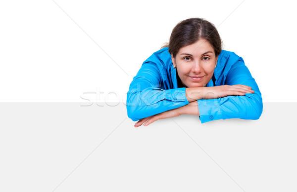 Caucásico modelo banner aislado blanco negocios Foto stock © luckyraccoon