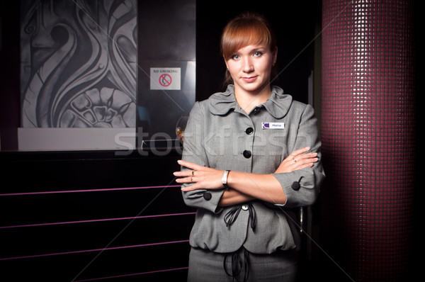 Receptionist hotel jonge glimlachend vrouwen werk Stockfoto © luckyraccoon