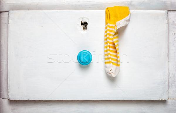 Sokken stick uit lade persoon hout Stockfoto © luckyraccoon