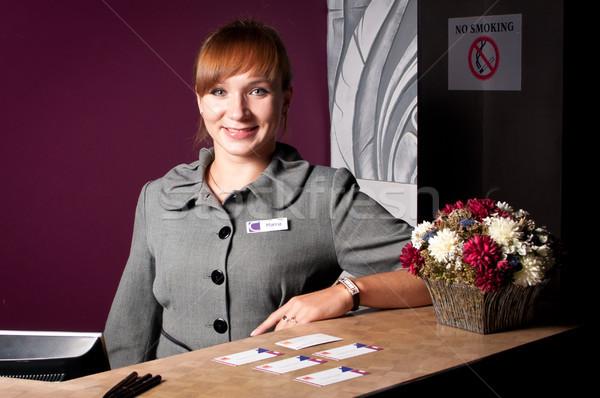 Recepcionista recepção secretária jovem sorrindo mulheres Foto stock © luckyraccoon