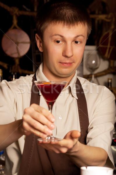 Barman with cocktail Stock photo © luckyraccoon