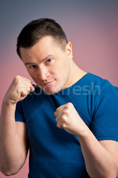 Fotoğraf genç ayakta boks pozisyon spor Stok fotoğraf © luckyraccoon
