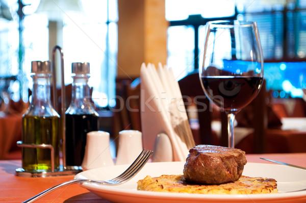 クローズアップ 子牛肉 フライド ガラス 背景 ストックフォト © luckyraccoon