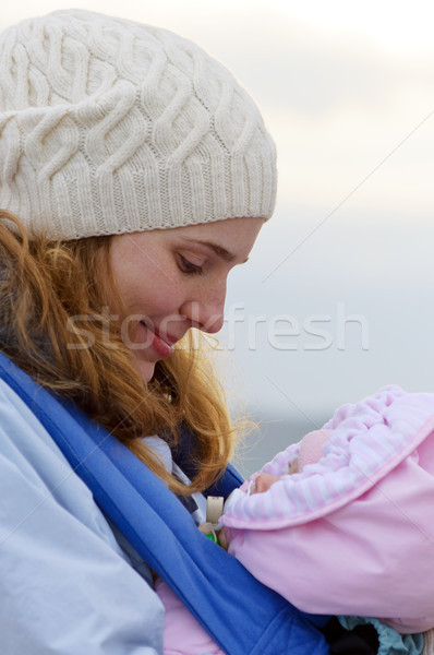 Lifestyle portrait of young mother and baby Stock photo © luckyraccoon