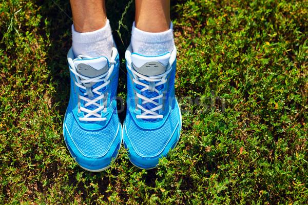 Futócipők fű kép közelkép fitnessz cipők Stock fotó © luckyraccoon
